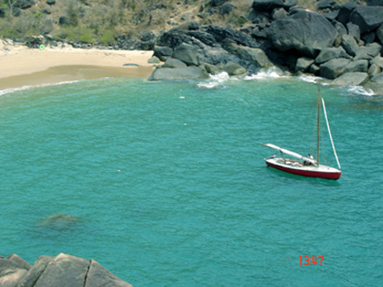 The Swift anchored in the deserted Butterfly beach in Goa