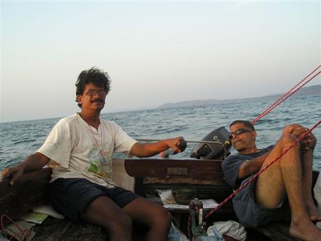 Ashwin Tombat in his sailing boat The Swift in Goa